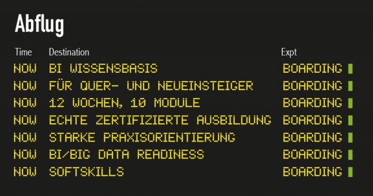 Flugtafel-Abflug-BI-KK Ausbildungsprogramm der infologistix GmbH